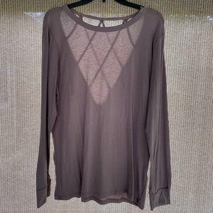 Mono B Long Sleeve Shirt With Cutout Back Sz Lg